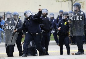 police rock throwing