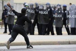 protestor rock throwing